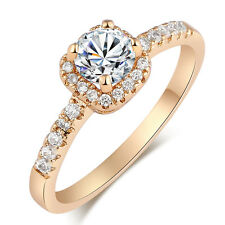Exquisite Wedding Jewelry Gift Round Cut White Topaz 18K Yellow Gold Filled Ring