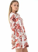 NEW WOMENS LADIES HALLOWEEN WHITE TEETH PRINT DRESS HAREM COSTUME SIZES 8 - 22