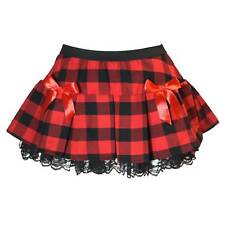 PLUS Women's Sexy Schoolgirl Skirt Bows Lace Red Plaid Pleated Naughty Costume