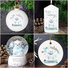 Personalised Gifts, Polar Bear, My 1st Christmas, Tree Decorations, Snow Globe