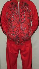 Mens Hip Stylish Red Black Zippered Jacket Jogging Track Suit Classic Fit