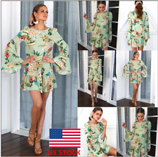 Women Floral Long Flared Sleeve Ruffle Mini Dress Party Casual Cocktail Sundress