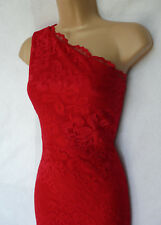 Lipsy Red all lace one shoulder wiggle stretch Maxi Dress Prom Cocktail Occasion