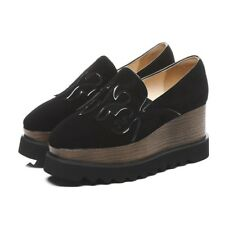 Womens Slip On Suede Loafers Casual Platform High Heels Creepers Oxfords Shoes