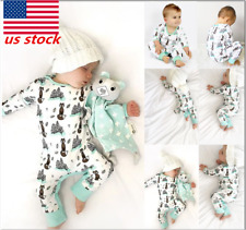 Newborn Baby Infant Boy Girls Animal printed Long Sleeve Button Outfits Clothes