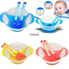 New Baby Kids Child Feeding Bowl Binaural Set with Spoon Fork Feeding LM 02