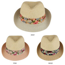 Ladies Two Tone Paper Straw Fedora Hat with Floral Print Hatband -  FREE SHIP