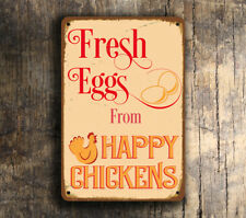 Fresh Eggs From Happy Chickens Outdoor Sign Chicken Coop Sign Metal Fresh Eggs