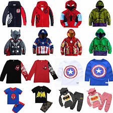 Kids Toddler Boys Superhero Hoodies Sweatshirt Jacket Tops/ T-Shirt/2Pcs Outfits