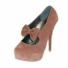 Dusty Pink Suedette concealed platform high heel court shoes with bow strap