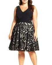 XSCAPE Plus Flocked Skirt Fit-and-Flare Party Dress, Size 14W, 18W New With Tag