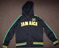 YOUTH JAMAICA Hooded Thick Track Jacket with Sewn Letters & Flag YOUTH M  XL 2X