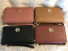 NWT MICHAEL KORS LEATHER FULTON LG FLAT MF PHONE CASE WRISTLET WALLET VARIOUS