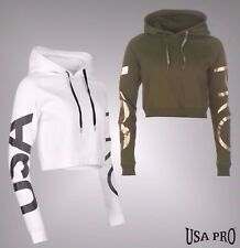 Ladies USA Pro Soft Fleece Long Sleeves Over Sized Cropped Hoody Size 8-16