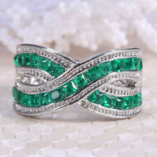 925 Silver 4.3ct Emerald Infinity Jewelry Wedding Engagement Ring Size 6-10