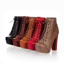 Womens Solid Ankle Boots High Heels Platforms Lace Up Block Heels Fashion Shoes