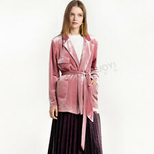 Womens Lapel Waist Belt Velvet Trench Coats Slim Fit Stylish Jacket Overcoat