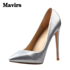 Womens PU Pointed 12CM High Heels Pumps Slip On Stiletto Dress Shoes US 4-15
