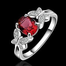 925 Sterling Silver Red Zircon Crystal Butterfly Ring Women Jewelry Size O-Q