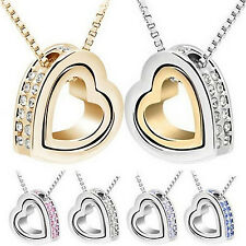 Fashion Womens Heart Crystal Charm Pendant Chain Necklace Silver Plated Jewelry.