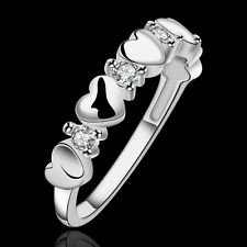 925 Sterling Silver Filled Crystal Heart Ring Women Fashion Jewelry Size O-Q