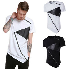 Fashion Men Short Sleeve T-shirt Tops Asymmetrical Hem Tee Shirt Casual Blouse