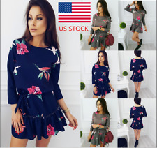 Womens Floral Long Sleeve Crew Neck Mini Shirtdress Party Cocktail  Casual Dress