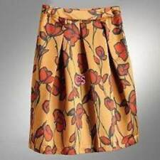 NWT-Womens Simply Vera Wang Gold Orange Satin Floral Pleated Skirt-sz 4, 8 & 10