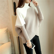 Womens Mixed Color High Neck Bat Sweaters Casual Loose Blouses Tops Outwear