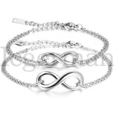 Mens Womens Stainless Steel Charm Infinity Love Silver Chain Anklet Bracelet