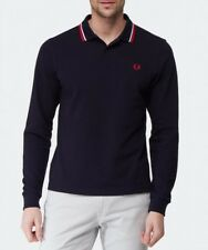 Fred Perry Long Sleeve Polo Shirt Mens Twin Tipped Pique