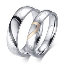 Couple Ring Necklace Set Heart Shape Wedding Promise ring jewelry Free Engraving