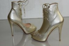 $1095 NEW Christian Louboutin JUSTE 120 Leather Boots Hells Sahara GOLD Shoes 39