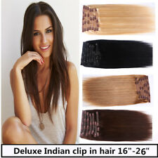 USA STOCK! Deluxe 16 inch Indian Remy Human Hair Clip In Extensions 9pcs & 175g