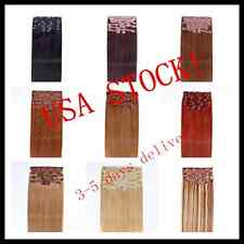 USA STOCK! Deluxe 24 inch Indian Remy Human Hair Clip In Extensions 9pcs & 220g