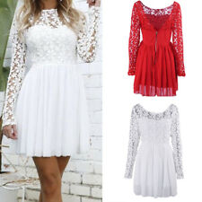 Lady Lace Long Sleeve Backless Sexy Slim Cocktail Party Evening Short Mini Dress