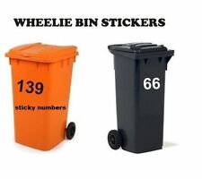"""3 x Wheelie Bin Numbers Stickers, Self Adhesive Stick On. Available  colours, 6"""""""