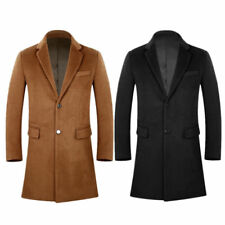 Mens Wniter Wool Pea Coat Slim Fit Brown Long Jacket Overcoat Trench Coat