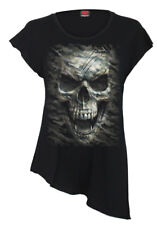 Spiral Camo-Skull, Raw Neck Asymmetric Viscose Top|Army|Camouflage|Skulls|Death