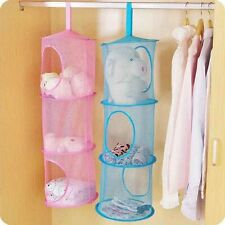 Bedroom Bathroom Organizer Closet 3 Tier Hanging Storage Bag Mesh Net Kids Toy
