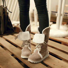 Sweet Womens Suede Flat Heels Lace Up Mid-calf Winter Snow Warm Boots Shoes