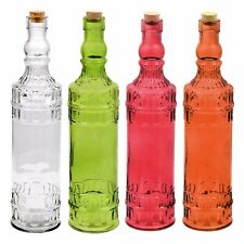 4 Colorful Vintage Glass Bottles with Cork Tops