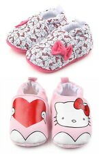 NEW Hello Kitty Baby Girl White Pink First Walker Soft Sole Crib Shoes Slippers