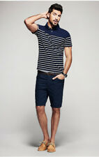 Plus Size Mens Polo Shirt 100% Cotton Striped Short Sleeve Slim Fitted T Shirts