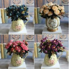 Artificial Silk Fake Flowers Leaf Peony Floral Bouquet Wedding Party Home Deco