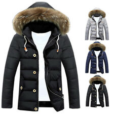 Mens Warm Down Jacket Winter Thick Hooded Padded Coat Parka Overcoat Outwear