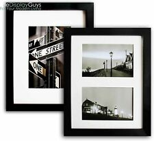"2pcs of 8""x10 OR 11""x14"" Solid Black Pine Wood Photo Picture Frame W Real Glass"