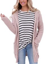 Dokotoo Womens Casual Open Front Long Sleeve Cardigan Sweater with Pocket