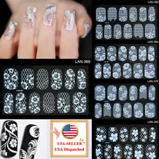 Flower Nail Art Stickers White  Water Transfer Diamond Paper Nail Foil Decals