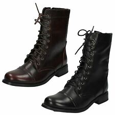 Ladies Spot On Military Style Ankle Boots F50272